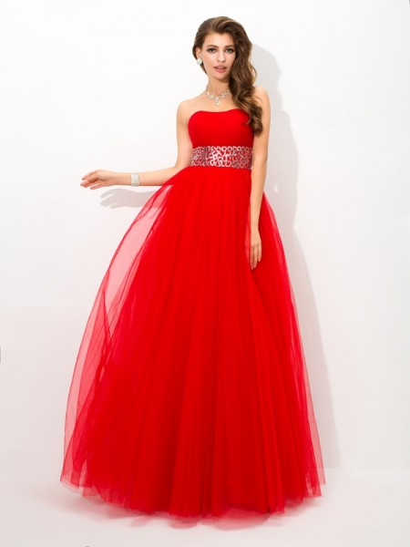Ball Gown Net Strapless Beading Floor-Length Sleeveless Dresses