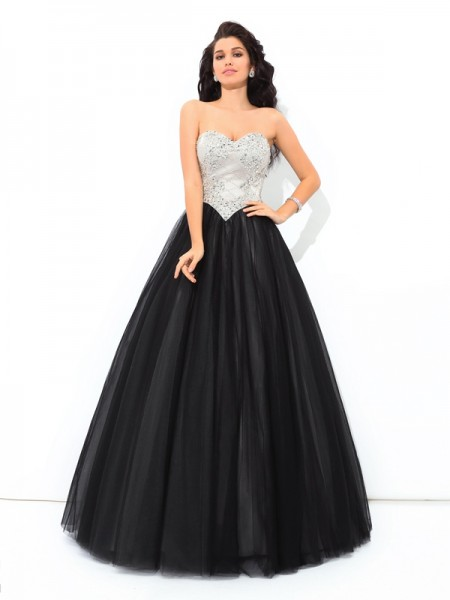 Ball Gown Net Sweetheart Sleeveless Floor-Length Paillette Dresses