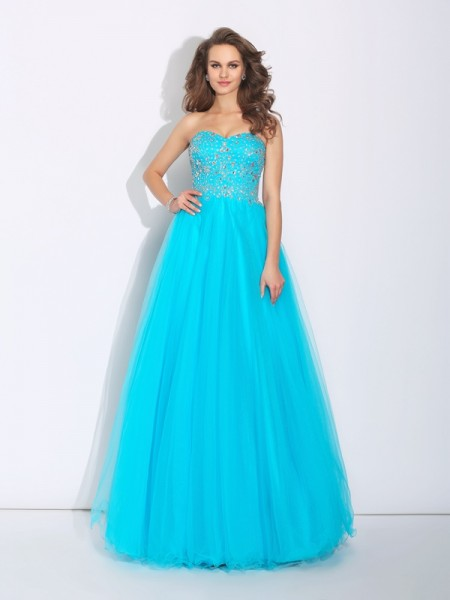 A-Line/Princess Satin Sweetheart Rhinestone Floor-Length Sleeveless Dresses