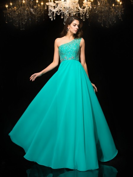 A-Line/Princess Chiffon One-Shoulder Sleeveless Beading Floor-Length Dresses
