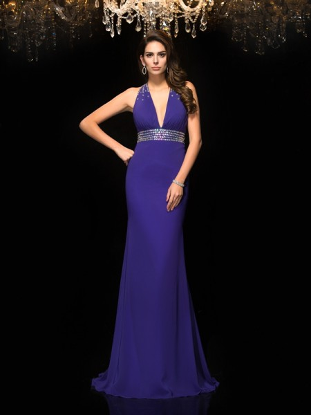 Trumpet/Mermaid V-neck Chiffon Beading Sleeveless Sweep/Brush Train Dresses
