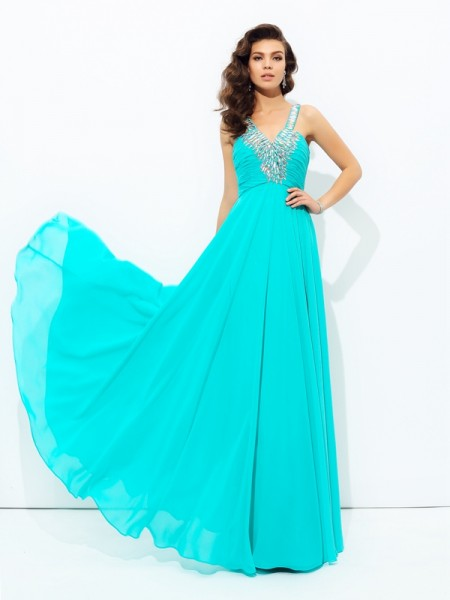 A-Line/Princess V-neck Chiffon Paillette Floor-Length Sleeveless Dresses