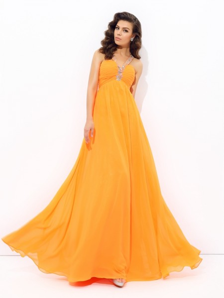 A-Line/Princess V-neck Chiffon Rhinestone Sleeveless Floor-Length Dresses