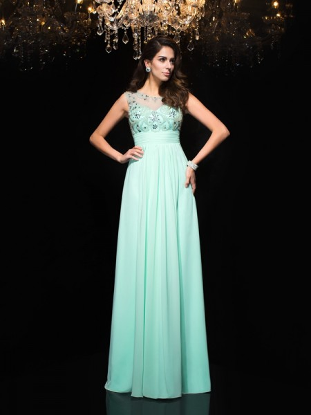 A-Line/Princess Sheer Neck Chiffon Beading Floor-Length Sleeveless Dresses