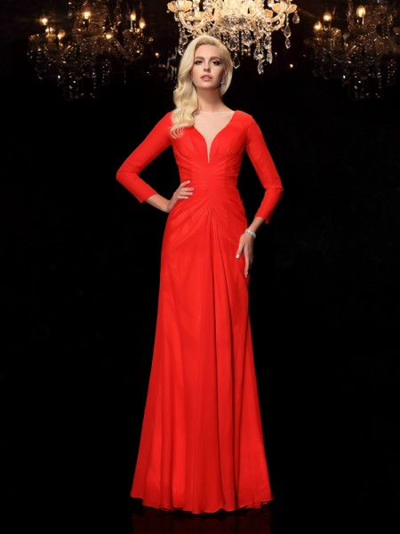 Sheath/Column Chiffon Ruched Bateau Long Sleeves Floor-Length Dresses