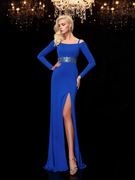 Sheath/Column Bateau Spandex Beading Long Sleeves Sweep/Brush Train Dresses
