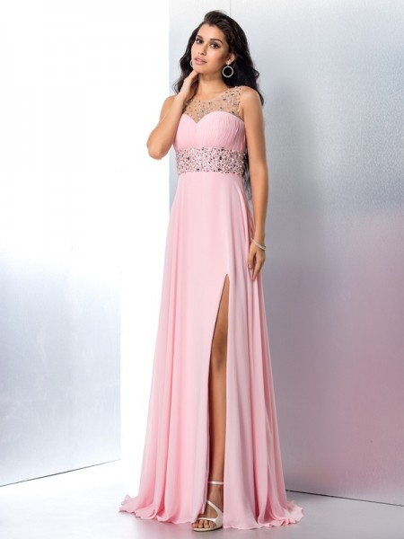 A-Line/Princess Chiffon Sheer Neck Sleeveless Beading Sweep/Brush Train Dresses