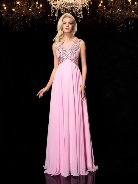 A-Line/Princess Scoop Chiffon Sleeveless Floor-Length Beading Dresses