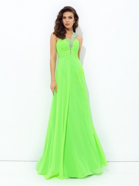 A-Line/Princess One-Shoulder Sleeveless Rhinestone Chiffon Floor-Length Dresses