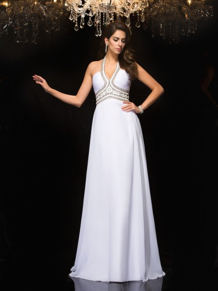 A-Line/Princess Chiffon Halter Sleeveless Floor-Length Dresses
