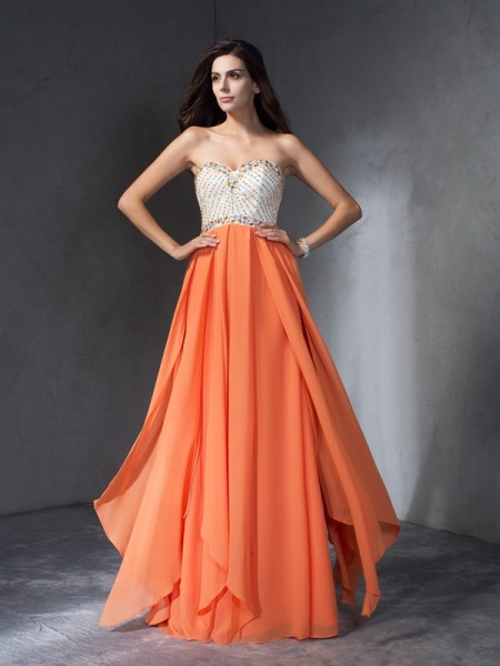 A-Line/Princess Sweetheart Chiffon Floor-Length Beading Sleeveless Dresses