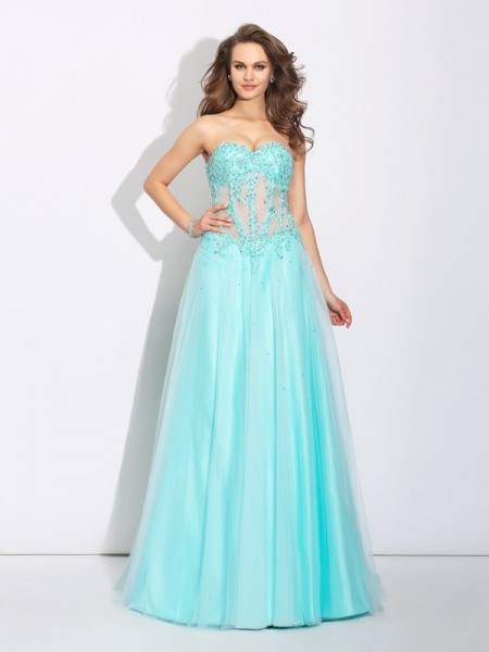 A-Line/Princess Net Sweetheart Sleeveless Lace Sweep/Brush Train Dresses