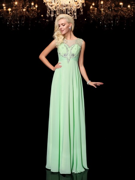 A-Line/Princess Chiffon Scoop Floor-Length Beading Sleeveless Dresses