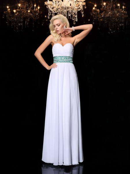 A-Line/Princess Chiffon Sweetheart Sleeveless Rhinestone Floor-Length Dresses