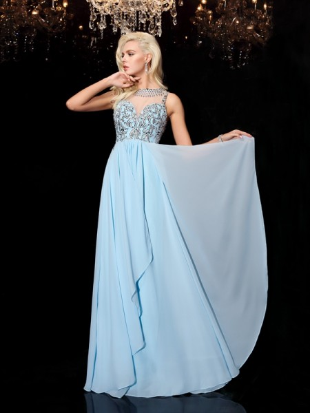 A-Line/Princess Chiffon Scoop Sleeveless Floor-Length Beading Dresses