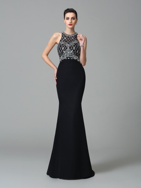 Trumpet/Mermaid Jewel Chiffon Rhinestone Sweep/Brush Train Sleeveless Dresses