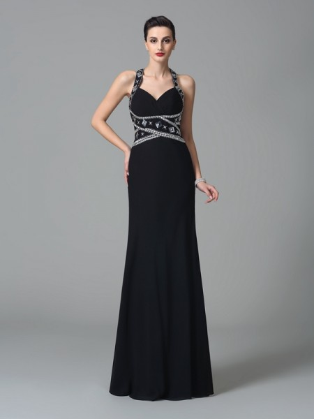Sheath/Column Chiffon Straps Sleeveless Beading Floor-Length Dresses