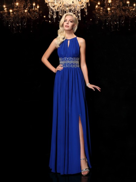 A-Line/Princess Chiffon Beading Jewel Floor-Length Sleeveless Dresses