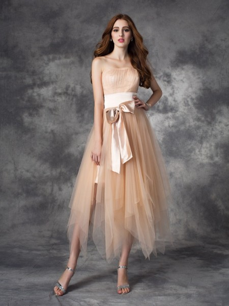 A-Line/Princess Elastic Woven Satin Bowknot Strapless Sleeveless Ankle-Length Dresses