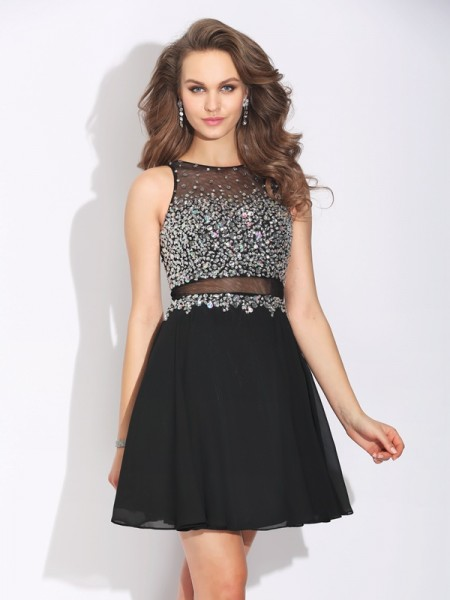 A-Line/Princess Chiffon Beading Jewel Sleeveless Short/Mini Dresses