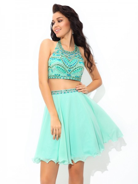 A-Line/Princess Chiffon Rhinestone Sheer Neck Sleeveless Short/Mini Dresses
