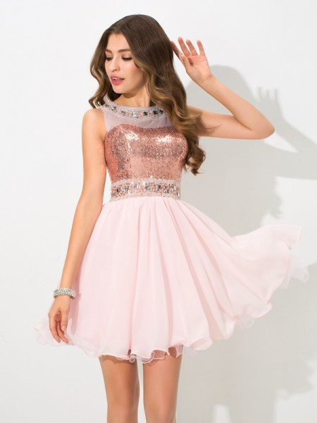 A-Line/Princess Chiffon Sleeveless Sequin Short/Mini Dresses