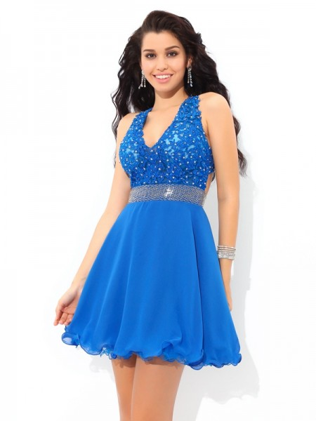 A-Line/Princess Chiffon Sleeveless Short/Mini Applique Dresses