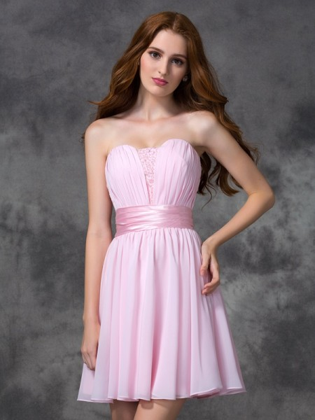 A-Line/Princess Sleeveless Ruched Chiffon Short/Mini Dresses