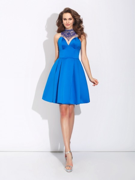 A-Line/Princess Satin Sleeveless Short/Mini Beading Dresses