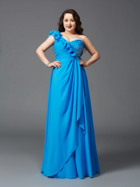 A-Line/Princess Chiffon Sleeveless Rhinestone Floor-Length Dresses