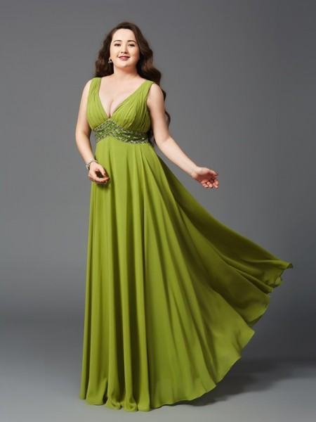 A-Line/Princess Chiffon Rhinestone Floor-Length Sleeveless Dresses