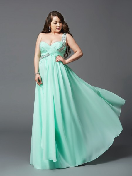 A-Line/Princess Rhinestone Sleeveless Floor-Length Chiffon Dresses