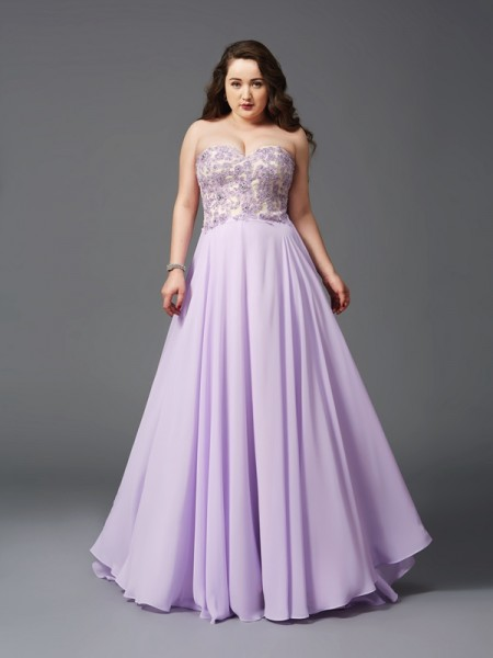 A-Line/Princess Chiffon Lace Sleeveless Sweep/Brush Train Dresses