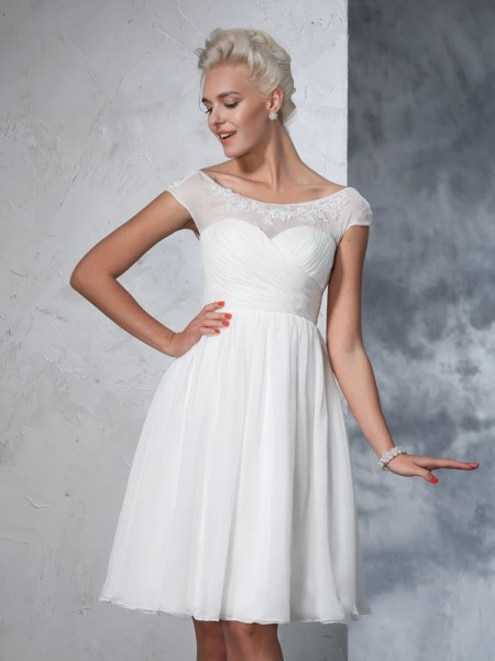 A-Line/Princess Chiffon Ruched Knee-Length Short Sleeves Wedding Dresses