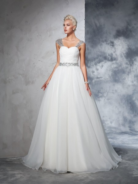 Ball Gown Net Sleeveless Chapel Train Ruched Wedding Dresses