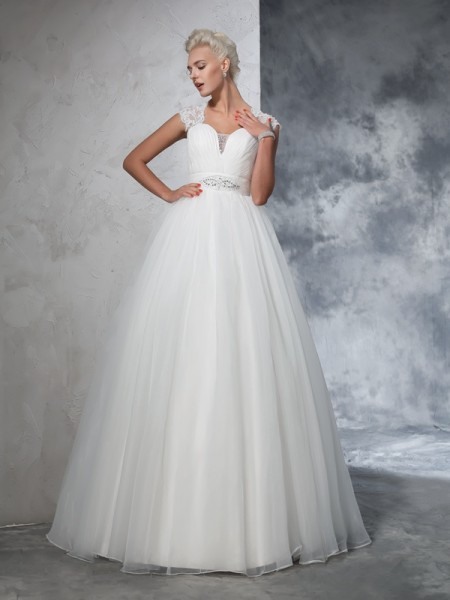 Ball Gown Tulle Ruched Sweep/Brush Train Sleeveless Wedding Dresses