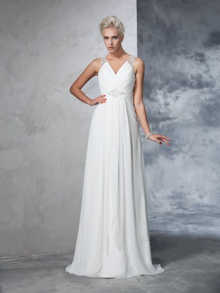 A-Line/Princess Chiffon Ruched Sleeveless Sweep/Brush Train Wedding Dresses