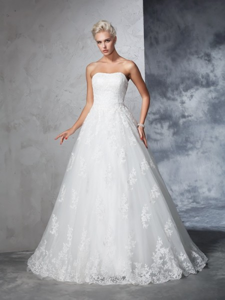 Ball Gown Lace Court Train Sleeveless Wedding Dresses