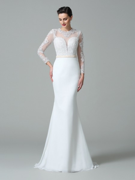 Trumpet/Mermaid Satin Long Sleeves Lace Sweep/Brush Train Wedding Dresses