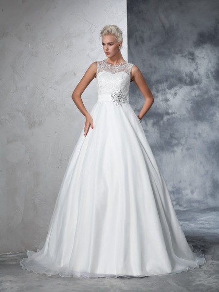 Ball Gown Net Sleeveless Lace Chapel Train Wedding Dresses