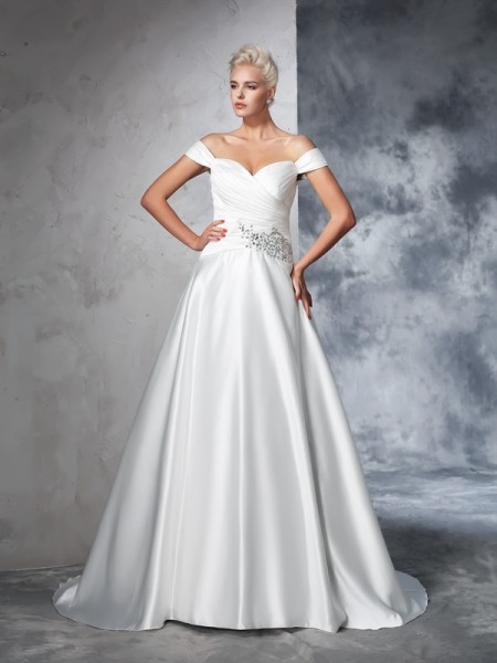 Ball Gown Taffeta Ruched Chapel Train Sleeveless Wedding Dresses