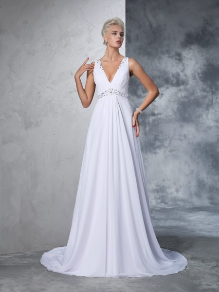 A-Line/Princess Chiffon Sleeveless Cathedral Train Beading Wedding Dresses
