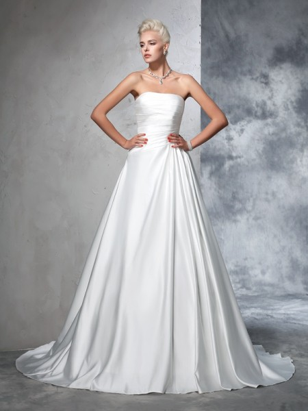Ball Gown Satin Ruched Chapel Train Sleeveless Wedding Dresses