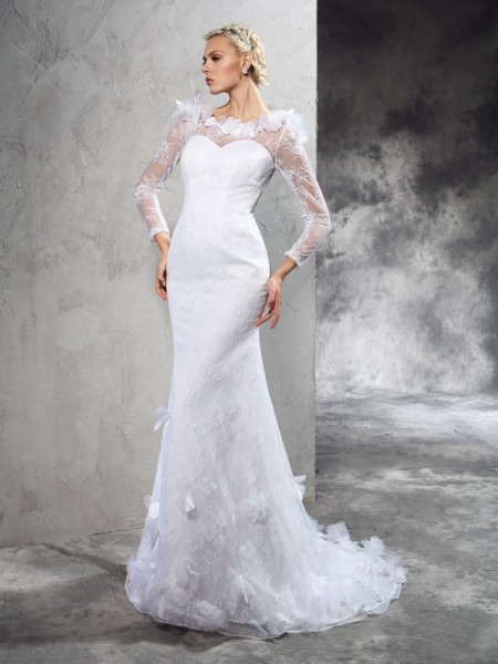 Sheath/Column Satin Long Sleeves Court Train Hand-Made Flower Wedding Dresses