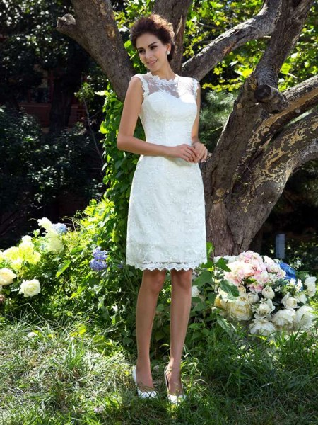 A-Line/Princess Satin Sleeveless Applique Knee-Length Wedding Dresses
