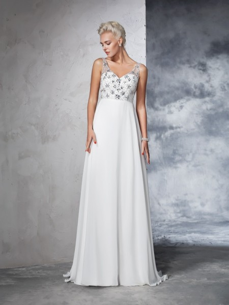 A-Line/Princess Chiffon Sleeveless Sweep/Brush Train Beading Wedding Dresses