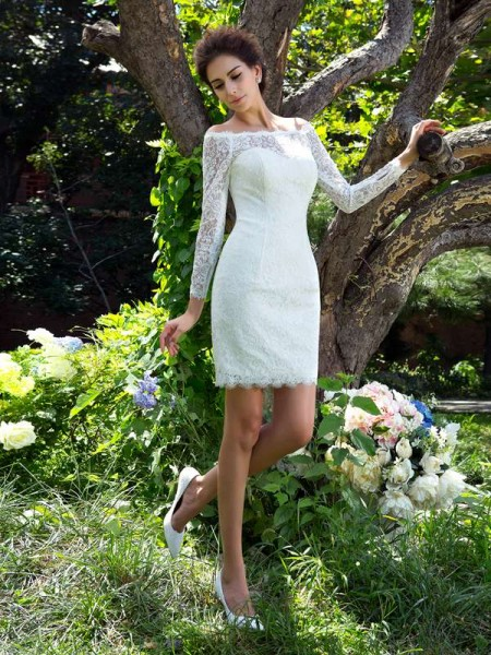 Sheath/Column Satin Long Sleeves Short/Mini Wedding Dresses