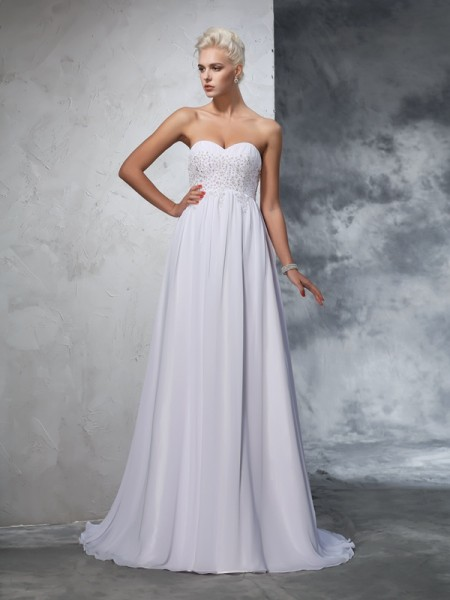 A-Line/Princess Chiffon Sleeveless Beading Sweep/Brush Train Wedding Dresses