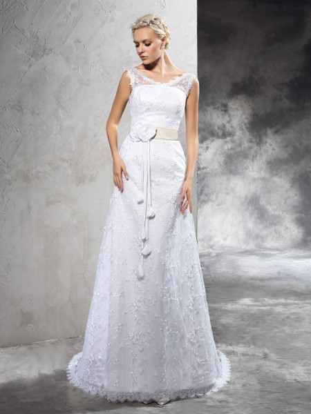 Sheath/Column Satin Hand-Made Flower Court Train Sleeveless Wedding Dresses