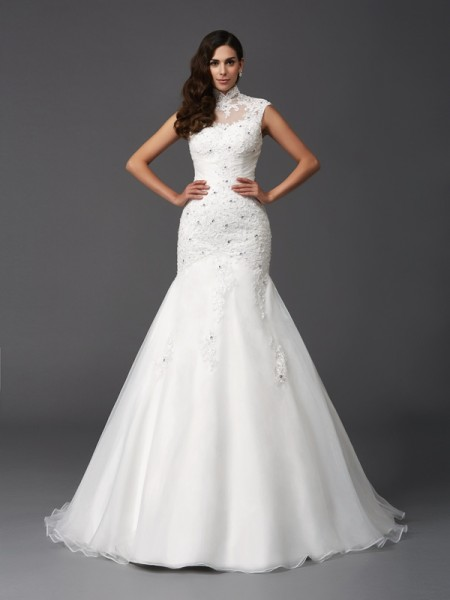 Trumpet/Mermaid Organza Sleeveless Beading Sweep/Brush Train Wedding Dresses